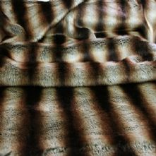 Chincilla Striped Brown and Tan Faux Fur Fabric Fat Quarter